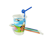 12oz Kids Cups, Thermoformed, with Lids and Straws, Farm Theme - Item 502FRM Wholesale Restaurant Plastic Child-Kid Cup