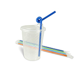 Undecorated Cup Kits with Thermoformed 12oz Cup, Lids, Straws - 250qty - Item 502GN Wholesale Restaurant Plastic Child-Kid Cup