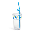 Fun Tough Kids' Cup, Washable 12oz Tumbler, SAN/Acrylic, Design #4, Diamonds - Item R512D4-A Wholesale Restaurant Washable Plastic